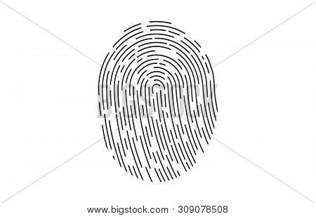 Fingerprint Logo. Fingerprint Icon Identification. Security And Surveillance System Element. Recogni