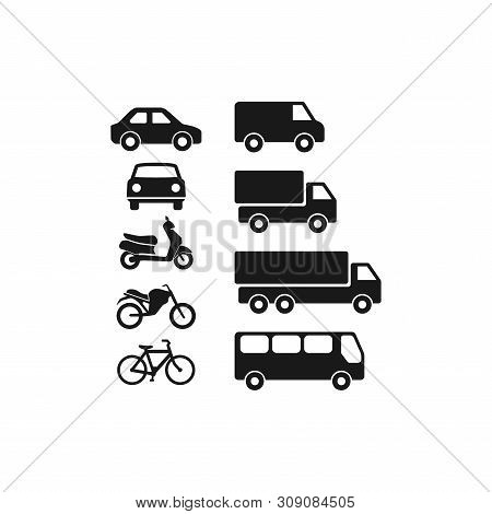 Motor Vehicles, Automobile, Bus, Truck Flat Vector Pictogram Icon Set. Motorcycle, Van, Scooter Blac