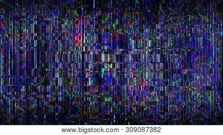 Futuristic Glitch Background. Abstract Pixel Noise Glitch Error Video Damage Like Vhs Glitch. Patter