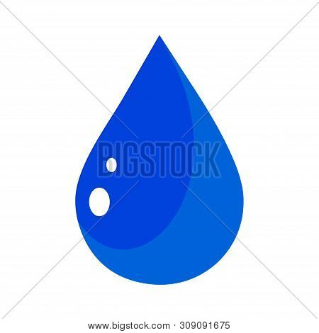 Blue Water Icon With Water Drop Gradation Isolated On Soft Blue Background. Simple Sign Water Icon T