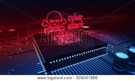 Cyber Attack And Skull Glowing Hologram Over Working Cpu In Background. Danger Alert, Threat, Infect