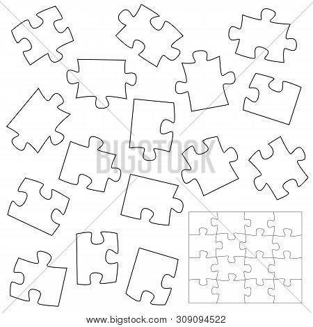 A Lot Of Piece Puzzle Elements Template In Flat Style. Brainstorming To Make Puzzles In One Piece. V