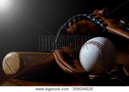 Baseball Equipment, Baseball And White With A Dark Background