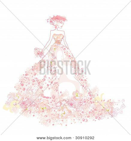 Abstract Beautiful floral bride