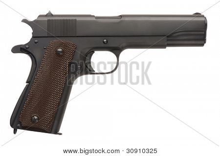 An unissued American-made .45 1911A1 semi-automatic military pistol from World War Two.