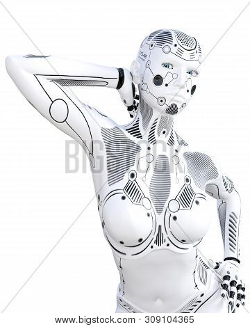 Robot woman. White metal droid. Android girl. Artificial Intelligence. Conceptual fashion art. Realistic 3D render illustration. Studio, isolate, high key. poster