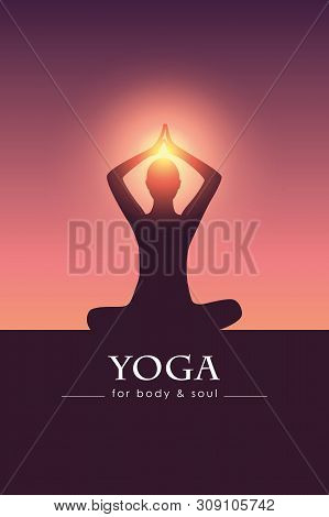 Yoga For Body And Soul Meditating Person Silhouette Vector Illustration Eps10