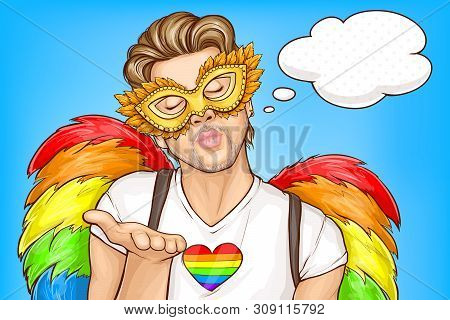 Gay Pride Parade Pop Art Vector Concept, Banner Template. Handsome Homosexual Man Wearing Carnival F