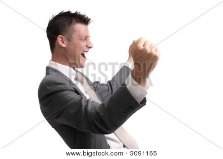 Young, Handsome Businessman Showing  Excitement