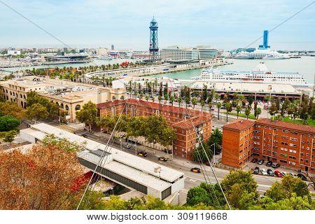 Torre Jaume I Is A Steel Truss Tower In Barcelona, Catalonia Region Of Spain