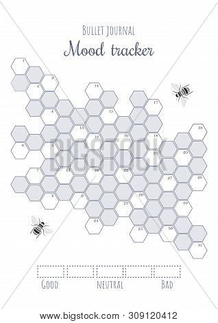 Printable Mood Tracker With Uncolored And Numbered Honeycombs. Bullet Journal Ready To Print Page Te