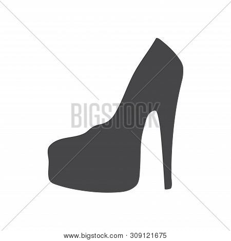 poster of Feminine shoe vector icon on white background. Feminine shoe icon in modern design style. Feminine shoe vector icon popular and simple flat symbol for web and graphic, mobile app, logo. Feminine shoe icon illustration, EPS10.