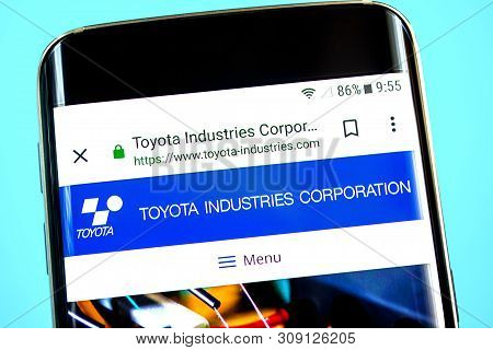 Berdyansk, Ukraine - 1 June 2019: Toyota Industries Website Homepage. Toyota Industries Logo Visible