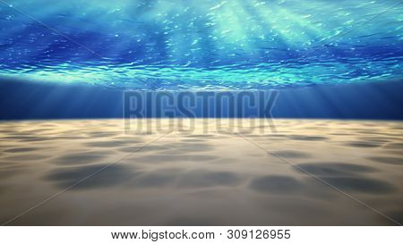 Underwater Background With Sandy Sea Bottom.