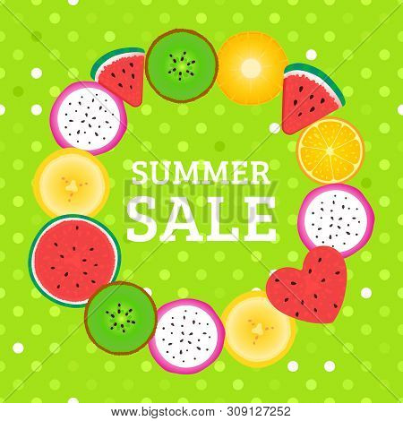 Round Frame With Pieces Of Tropical Fruits Summer Sale. Vector Kiwi, Watermelon, Banana, Dragonfruit