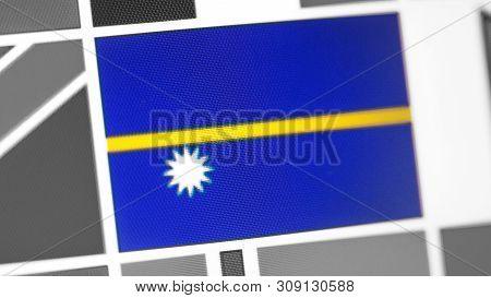 Nauru National Flag Of Country. Nauru Flag On The Display, A Digital Moire Effect. News Of Geography