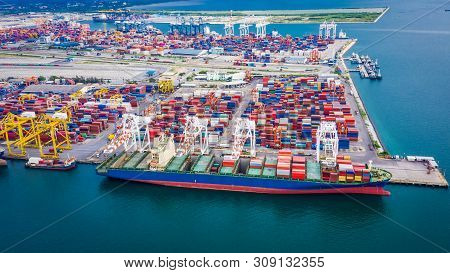 Shipping Unloading Container Cargo Terminal Port On The Sea Business Services Transportation Import