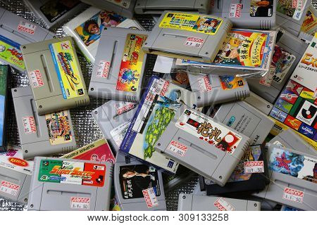 Tokyo, Japan - December 4, 2016: Retro Video Game Collectible Store Snes Bargain Bin In Akihabara Di