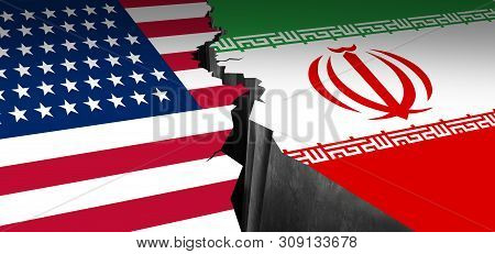 Iran Us Showdown And Middle East Clash As A Usa Or United States Crisis In The Persian Gulf Concept