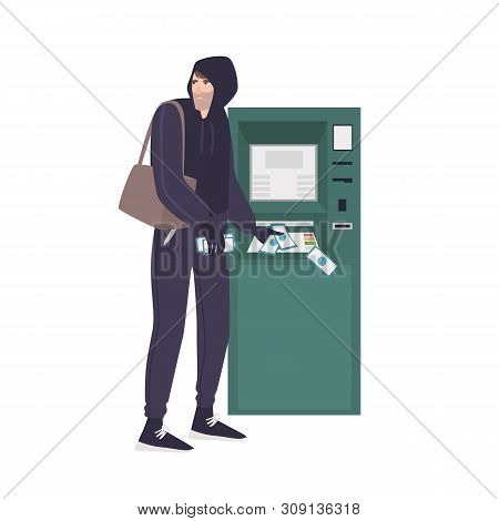 Male Thief Stealing Money Banknotes From Atm. Young Angry Man In Hoodie Committing Crime. Theft Or B