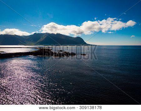 Scenic Seascape At Hovsund Fishing Port Village, Gimsoya Lofoten Islands In Norway