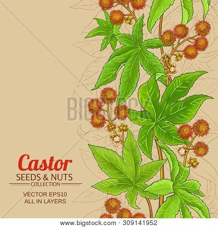 Castor Branch Vector Pattern On Color Background