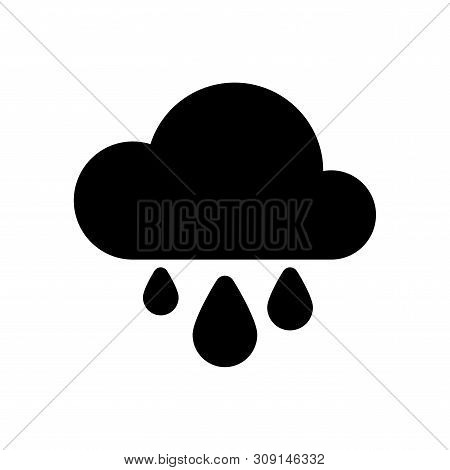 Color Weather Downpour Rain Icon In Simple Style. Blue Cloud And Big Drops Isolated On White Backgro
