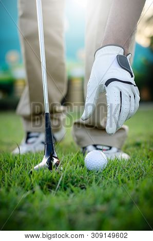 Hand Putting Golf Ball On Tee With Club In Golf Course