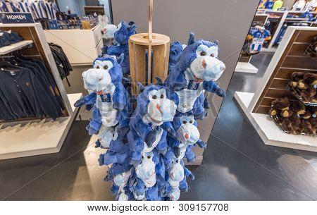 Porto, Portugal - April 2018: Soft Toys In Fan Shop At Estadio Do Dragao Stadium