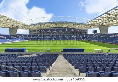 Porto, Portugal - April 2018: Blue Tribunes Of Estadio Do Dragao Stadium