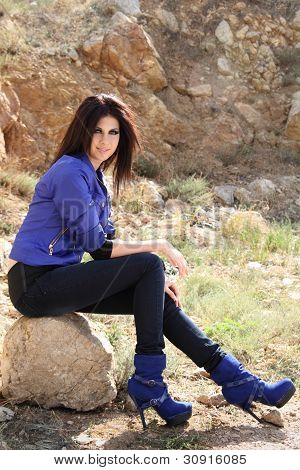 Attractive Glamour Female Outdoors