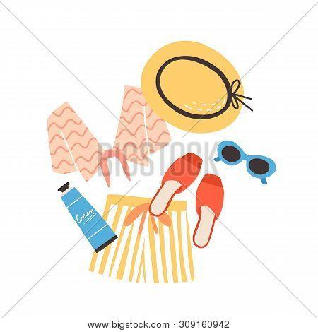 Modern Summer Composition With Beachwear, Sunglasses And Sunscreen. Elegant Stylish Seasonal Clothes