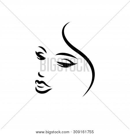 Woman Face Logo Design. Vector Illustration. Girl Silhouette For Cosmetics, Beauty, Health And Spa,