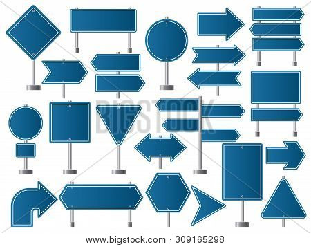 Street Signs. Road Highway Indicators And Empty Boards Direction For Traffic Vector Collection. Post
