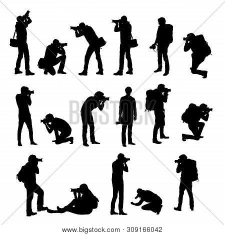 Set Realistic Silhouettes Of Male Photographer With Camera In Different Positions. She Stands, Kneel