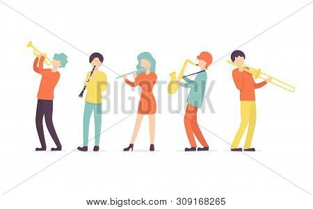 Flat Vector Set In A Flat Style Of Group Of Musicians, Playing Clarinet, Saxophone, Trumpet, Flute,