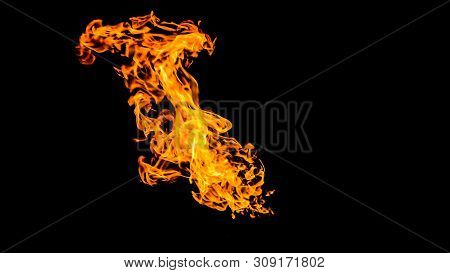 Fire On Black Background. Fiery Patterns. Burning Flame. Blazing Fire.