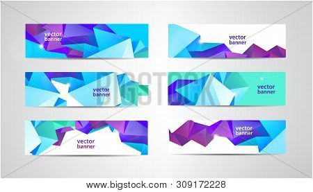 Vector Set Of Banners With Polygonal Geometric Background, Facet, Low Poly, Traingles Headers