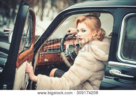 Escort And Security Guard For Luxury Woman. Sexy Woman In Fur Coat. Call Girl In Vintage Car. Retro