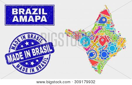 Mosaic Industrial Amapa State Map And Made In Brasil Seal Stamp. Amapa State Map Collage Constructed