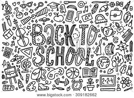 Line Art Sketchy Vector Hand Drawn Set Of Back To School Cartoon Doodle Objects. Horizontal Composit
