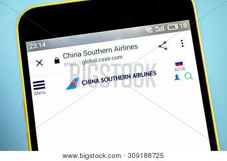 Berdyansk, Ukraine - 26 May 2019: China Southern Airlines Website Homepage. China Southern Airlines