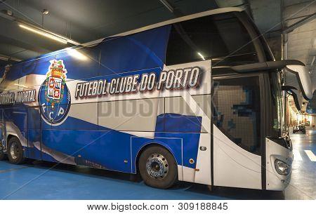 Porto, Portugal - April 2018: Fc Porto Official Bus At Estadio Do Dragao Arena
