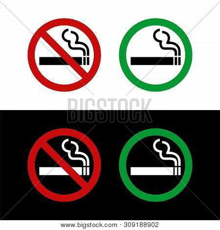 No Smoking And Smoking Area Signage Vector Illustration Design. Vector Eps 10.
