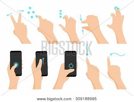 Touch Screen Hand Gestures Flat Colored Icon Series With Arrows Showing Direction Of Movement Of Fin