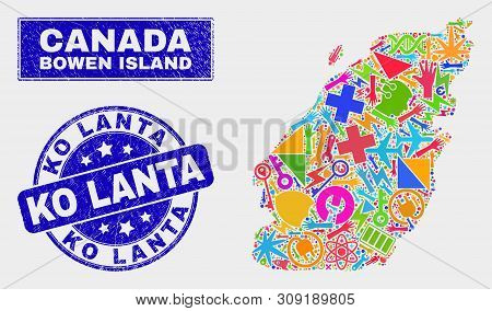 Mosaic Service Bowen Island Map And Ko Lanta Seal Stamp. Bowen Island Map Collage Constructed With R