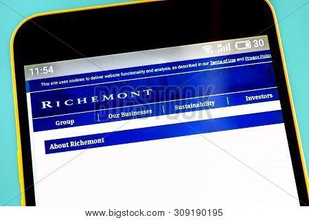 Berdyansk, Ukraine - 3 May 2019: Illustrative Editorial Of Richemont Website Homepage. Richemont Log