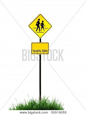 this is a school zone sign on white