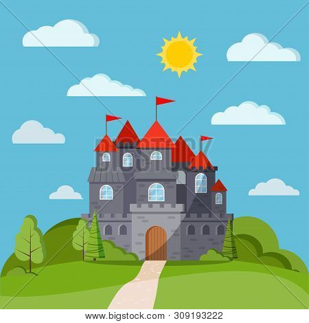 Cartoon Flat Style Fairy Tale Background With Grey Stone Castle Tower With Green Trees And Bushes, C