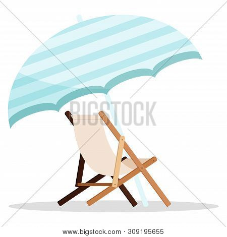 Wooden Beach Chaise Longue With Blue Umbrella Icon Isolated On White Background. Vector Illustration